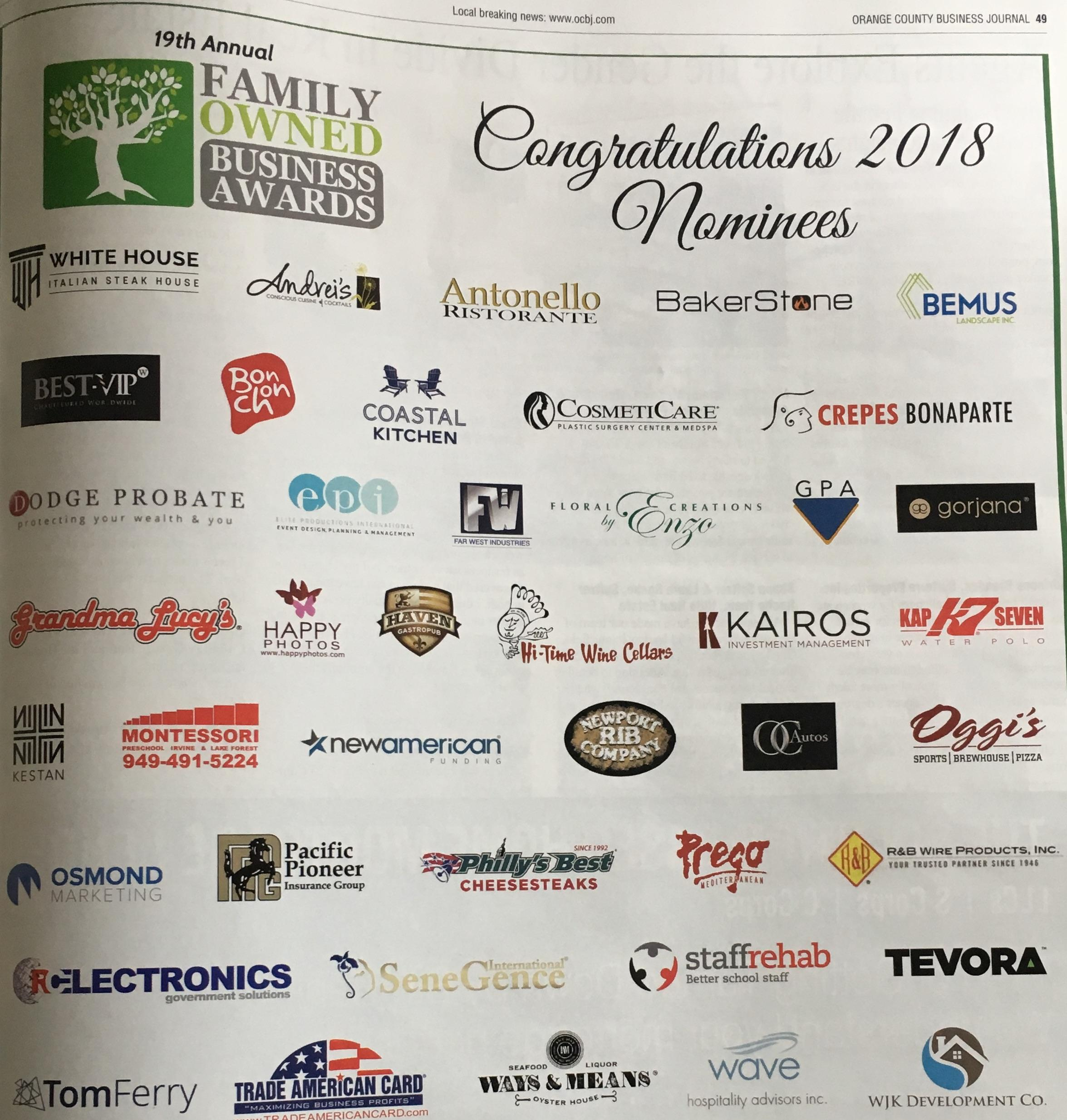Orange County Business Journal Family Owned Business Awards