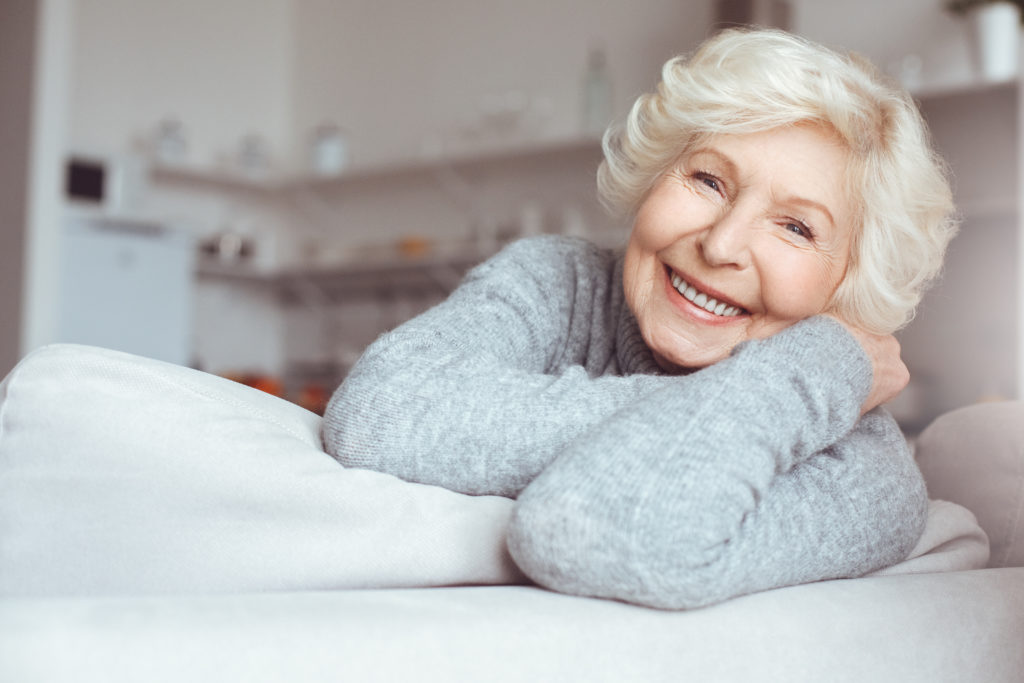 happy older woman after facial contouring